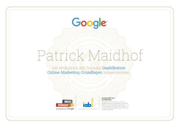 Google Online Marketing Zertifikat Patrick Maidhof